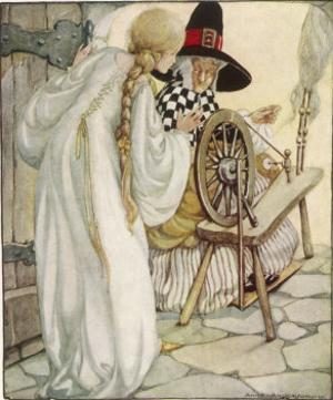 The Witch Shows Sleeping Beauty the Spinning Wheel by Anne Anderson