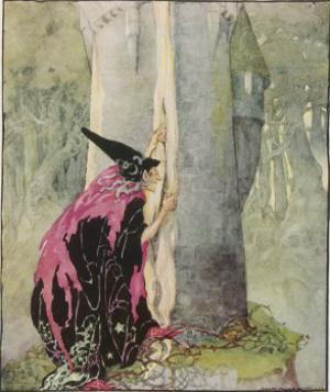 The Witch Spies on Rapunzel by Anne Anderson