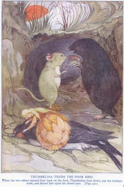 Thumbelina Tends the Poor Bird by Anne Anderson