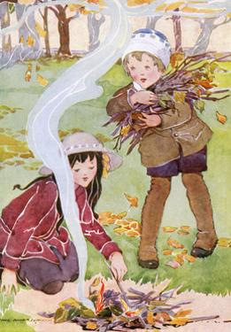 Two Children Tend to a Fire by Anne Anderson