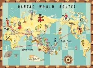 Qantas Empire Airways - World Routes Map by Anne Drew