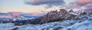 Italy, Trentino Alto Adige, Panoramic of Dolomiti Di Sesto Natural Park at Sunrise by Anne Maenurm