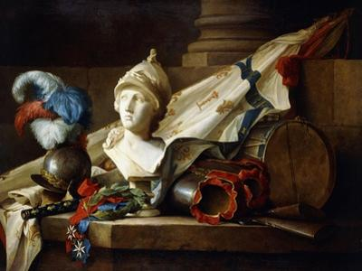 A Bust of Minerva with Armour and Weapons on a Stone Ledge, 1777