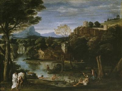 Landscape with River and Bathers by Annibale Carracci