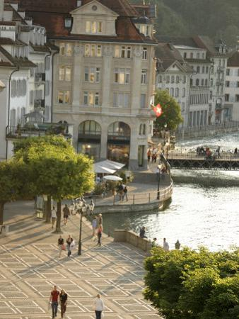 Lucerne Street Scene in the City Center Near Lake Lucerne by Annie Griffiths Belt
