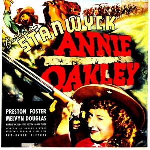ANNIE OAKLEY, top: Moroni Olsen, bottom: Barbara Stanwyck on jumbo window card, 1935