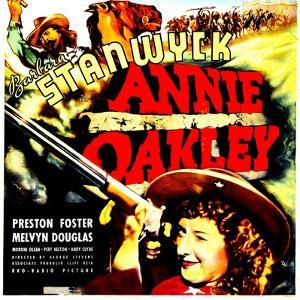 ANNIE OAKLEY, top: Moroni Olsen, bottom: Barbara Stanwyck on jumbo window card, 1935
