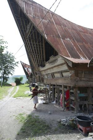 Batak Woman Carrying Skeins of Yarn to the Looms under Her Traditional Batak House