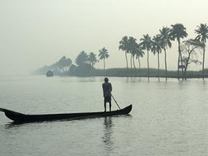 Canoe at Dawn on Backwaters, Alleppey District, Kerala, India, Asia by Annie Owen