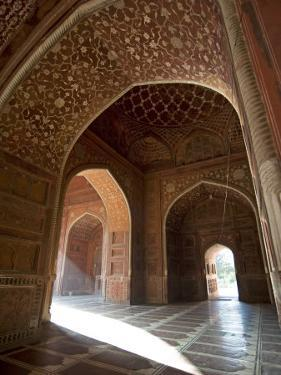 Interior of Red Sandstone Mosque at the Taj Mahal, Agra, Uttar Pradesh by Annie Owen