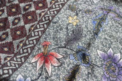 Intricate Batik Wax Resist Floral Pattern on Traditional Javanese Sarong