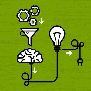 Invention Mechanism with Light Bulb Brain and Electric Plug by AnnSunnyDay