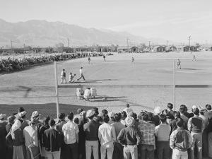 Baseball game, Manzanar Relocation Center, 1943 by Ansel Adams