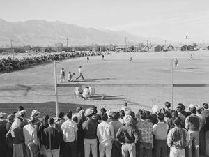 Baseball game, Manzanar Relocation Center, 1943 by Ansel Adams