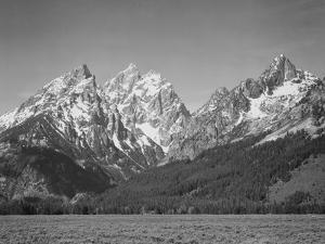 """Grassy Valley Tree Covered Mt Side And Snow Covered Peaks Grand """"Teton NP"""" Wyoming 1933-1942 by Ansel Adams"""