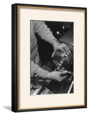Hands of Lathe Worker by Ansel Adams