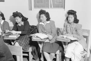 High school biology class  Manzanar Relocation Center, 1943 by Ansel Adams