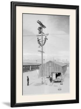 Line Crew at Work in Manzanar by Ansel Adams
