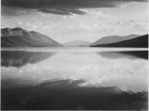 "Looking Across Lake Toward Mts ""Evening McDonald Lake Glacier National Park"" Montana 1933-1942 by Ansel Adams"