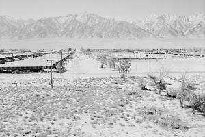 Manzanar Relocation Center from Guard Tower, view west , 1943 by Ansel Adams