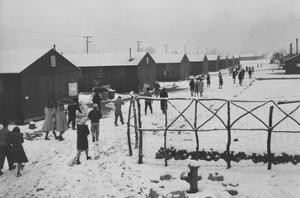 People Leaving Buddhist Church, Winter by Ansel Adams