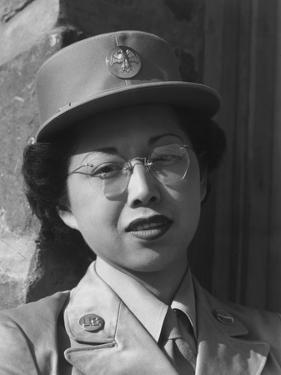 Private Margaret Fukuoka, W.A.C. at Manzanar, 1943 by Ansel Adams