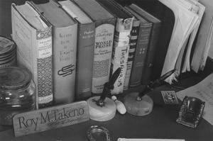 Roy Takeno's Desk, Manzanar Relocation Center by Ansel Adams