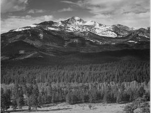 "Trees Fgnd, Snow Covered Mts Bkgd ""Long's Peak From North Rocky Mountain NP"" Colorado 1933-1942 by Ansel Adams"