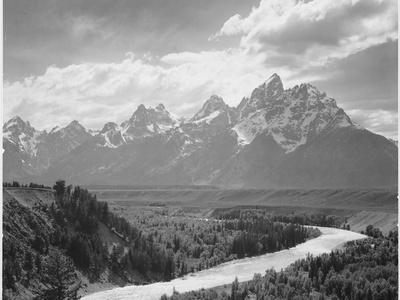 View From River Valley Towards Snow Covered Mts River In Fgnd, Grand Teton NP Wyoming 1933-1942