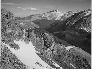 "View Of Barren Mountains With Snow ""Long's Peak Rocky Mountain National Park"" Colorado. 1933-1942 by Ansel Adams"