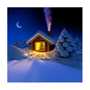 Little House In The Woods On New Year'S Night by Antartis