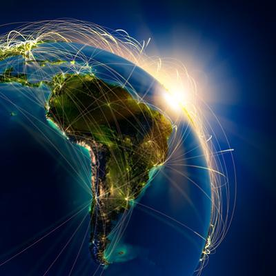 Main Air Routes In South America by Antartis