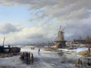 Frozen Winter Landscape with Figures, 1846 by Anthonie Braakman