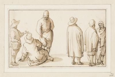 A Group of Three Figures Conversing and Two Merchants Talking to an Oriental (Pen and Ink with Wash