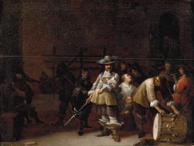 A Guardroom Interior with a Cavalier Conversing with a Drummer