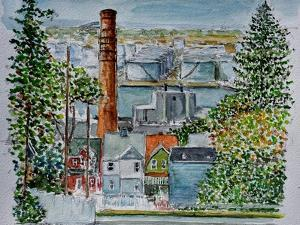 Neighborhood Across from Bayonne Oil Refineries, 2016,(watercolor) by Anthony Butera