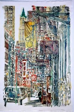 Woolworth Building and Mercer St.,1996(monoprint by Anthony Butera