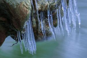 Ice Cicles On Mossy Stump With Icy Water by Anthony Paladino