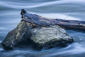 Two Rocks And Long Swirling Water by Anthony Paladino
