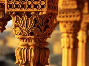 Detail of Carved Sandstone Pillars on Patwon Ki Haveli, Jaisalmer, India by Anthony Plummer