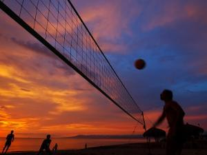 Sunset Volleyball on Playa De Los Muertos (Beach of the Dead), Puerto Vallarta, Mexico by Anthony Plummer