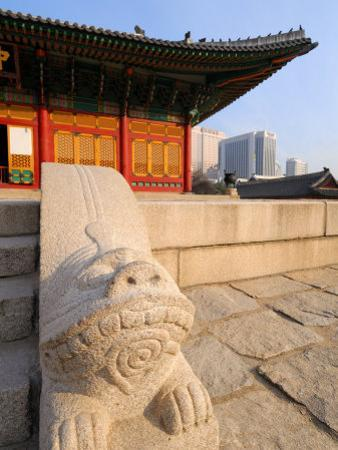 The Stone Haetae on Railings, Deoksegung Palace, Seoul, South Korea by Anthony Plummer