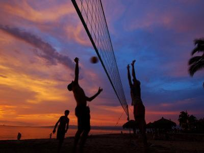 Volleyball on Playa de Los Muertos at Sunset, Mexico by Anthony Plummer