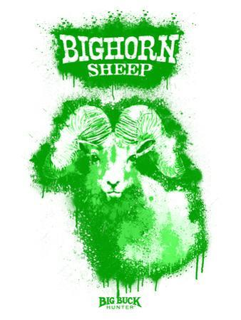 Big Horn Sheep Spray Paint Green by Anthony Salinas