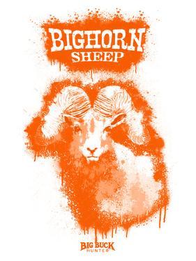 Big Horn Sheep Spray Paint Orange by Anthony Salinas