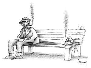 Hobo on park bench sees bird smoking the same kind of cigar he is. - New Yorker Cartoon by Anthony Taber
