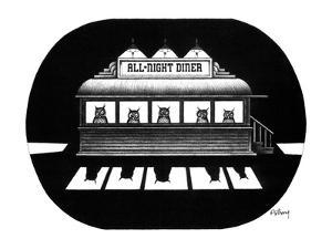 """The faces of owls peer through the windows of an """"All Night Diner"""". - New Yorker Cartoon by Anthony Taber"""