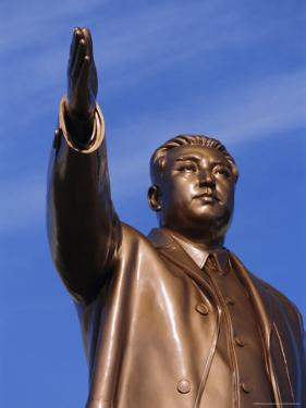 Bronze Statue, 30M High, of Great Leader, Mansudae Hill Grand Monument, Pyongyang, North Korea by Anthony Waltham