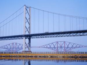 Firth of Forth Bridges, 1964 Road Suspension Bridge, 1890 Rail Bridge, Scotland, UK by Anthony Waltham
