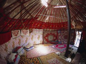 Inside Kazakhs Yurt, Tianchi (Heaven Lake), Tien Shan, Xinjiang Province, China by Anthony Waltham